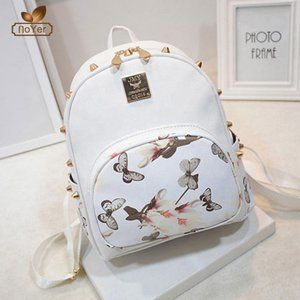 Women Backpack Casual Girl School Leather white